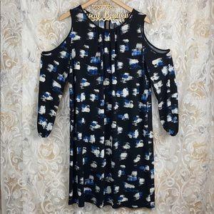 Boutique plus cold shoulder dress black blue 0x